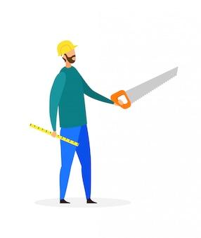 Handyman with instruments flat vector illustration