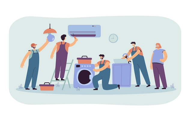 Handymen repairing clients home appliance. cartoon illustration