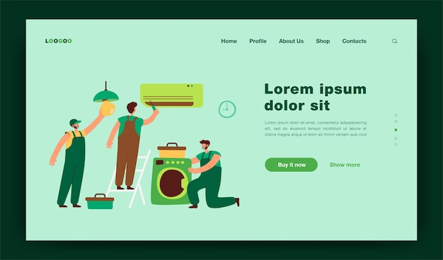 Handymen repairing clients home appliance. service man end electrician fixing washing machine, air conditioner, plumbing equipment.  illustration for domestic work, maintenance concept landing page