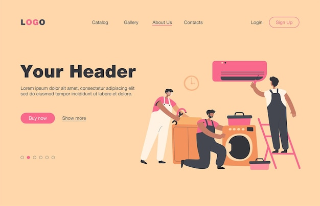 Handymen repairing clients home appliance. service man end electrician fixing washing machine, air conditioner, plumbing equipment.  landing page for domestic work, maintenance concept