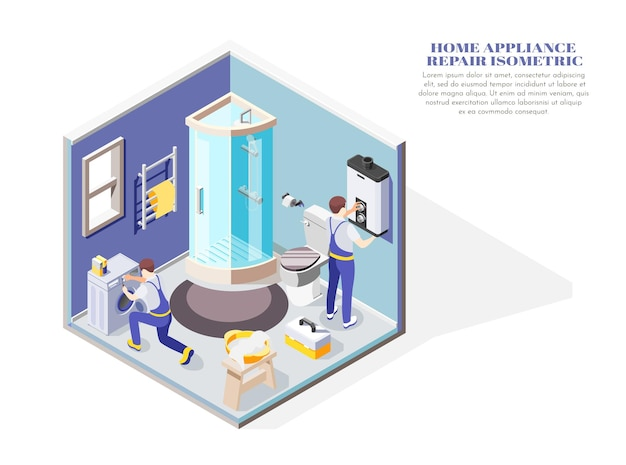 Handymen repairing electric home appliances in bathroom isometric composition 3d