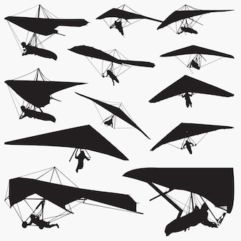 Hang glider silhouettes set