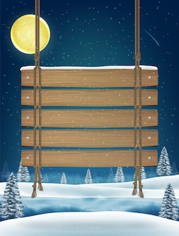 Hang wood board sign on night winter lake