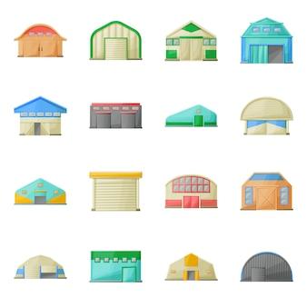 Ангар, склад здания мультфильм значок набор. изолированные иллюстрации архитектура ангара. набор иконок фасадного здания.