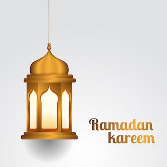 Hanged realistic golden lantern islamic