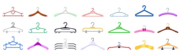 Hanger isolated cartoon set icon. cartoon   set icon cloth equipment.   illustration hanger  .