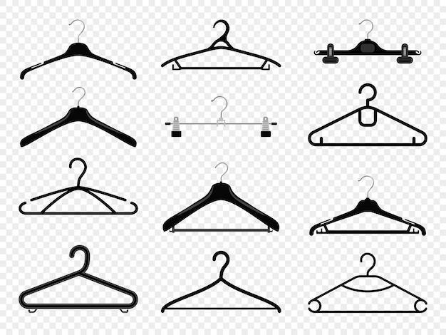 ハンガーのシルエット。透明な小売店やワードローブの家に隔離されたハンガー服のファッション機器は、コートとドレス、ズボンとシャツ、ベクトル用のフック付きの金属製のラックにぶら下がっています