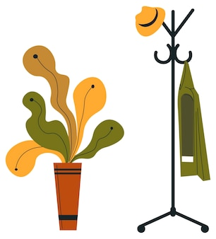 냄비에 잎이 있는 코트와 모자 식물이 있는 옷걸이