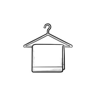 タオルでハンガー手描きのアウトライン落書きアイコン。ハンガー、ホテルのバスルーム、家庭用、清潔なコンセプト
