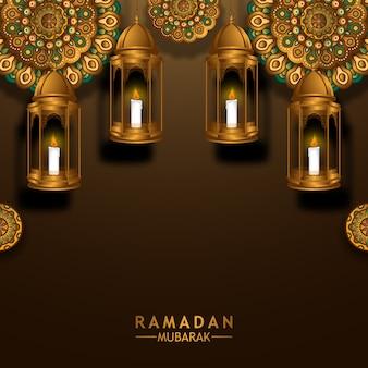 Hanging 3d golden fanoos lantern with traditional circle mandala geometrical pattern for ramadan mubarak kareem