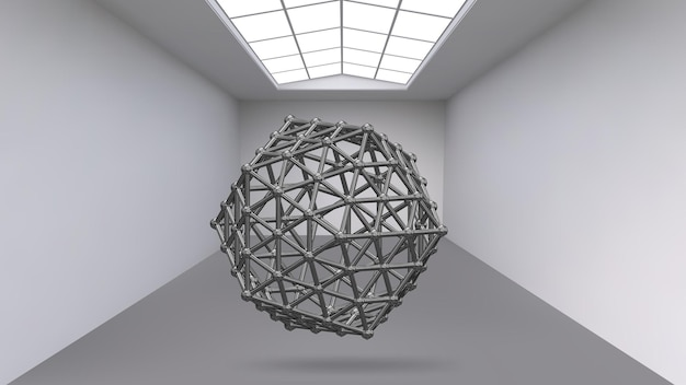 Hanging abstract polygonal object. exhibition space for objects of modern art. sci-fi objects.