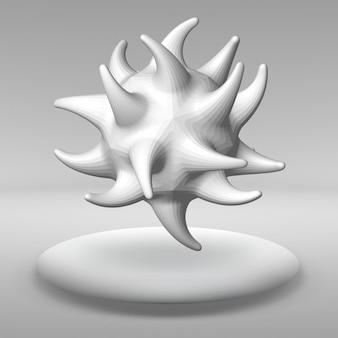 ぶら下がっている抽象的なポリゴンオブジェクト。構造体積グリッド。
