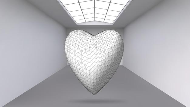 ぶら下がっている抽象的なポリゴンオブジェクト。被写体が真ん中にある白い部屋。現代美術品の展示スペース。 sci-fiオブジェクト。構造体積グリッド。