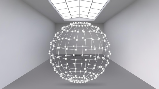 Hanging abstract polygonal object. the white room with the subject in the middle. exhibition space for objects of modern art. sci-fi objects. structural volumetric grid.