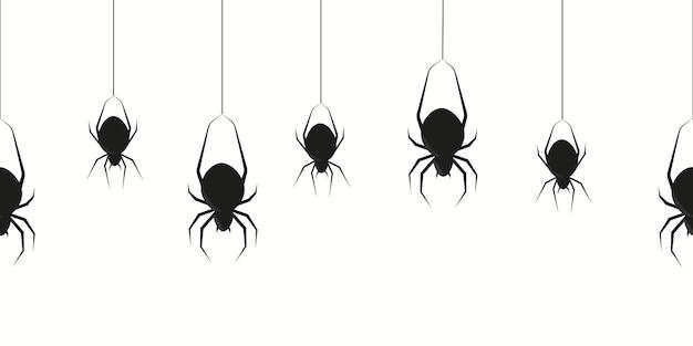 ぶら下がっている黒いクモ。怖いスイング昆虫のシームレスな装飾とパーティーパターンのシルエットとハロウィーンスパイダー透明不気味なボーダー