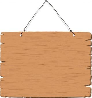 空白の木製看板をぶら下げ