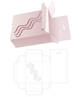 Hanging box and stenciled wave die cut template