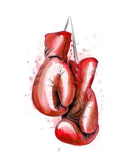 水彩のスプラッシュからボクシンググローブをぶら下げ、手描きのスケッチ。塗料のイラスト