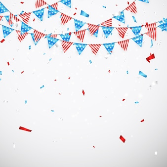 Hanging bunting flags for american holidays. american flag garland with confetti