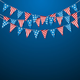 Hanging bunting flags for american holidays