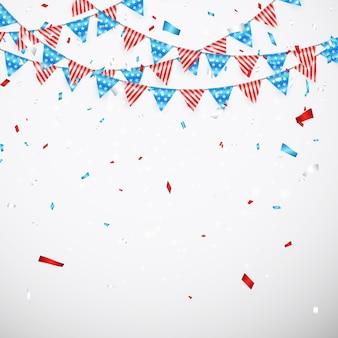 アメリカの休日のためのハンギングバンティングフラグ。紙吹雪とアメリカの国旗の花輪