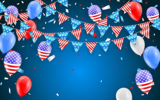 アメリカの休日カードのバンティングフラグをぶら下げます。紙吹雪の背景を持つアメリカの国旗の風船。