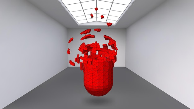 Hanging capsule of many small polygons in large empty room. the exhibition space is an abstract object, spherical shape. capsule at the moment of explosion is divided into fine particles.