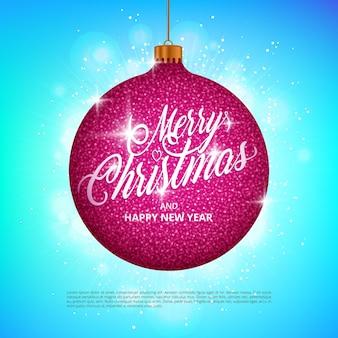 Подвесной рождественский бал с эффектом сверкающего металлического блеска и надписью с рождеством на красочном фоне. идеально подходит для праздничных поздравительных открыток, листовок, баннеров, подарочных этикеток и этикеток.