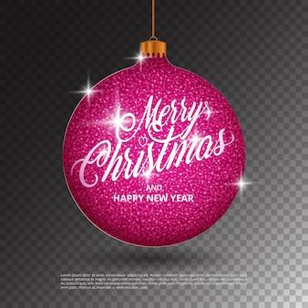 Подвесной рождественский бал с эффектом сверкающего металлического блеска и надписью merry christmas на прозрачном фоне. идеально подходит для праздничных поздравительных открыток, листовок, баннеров, подарочных этикеток и этикеток.