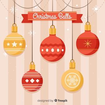 Hanging christmas balls background