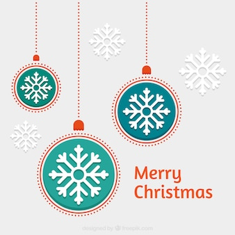 Hanging christmas baubles background