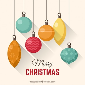 Hanging christmas baubles card