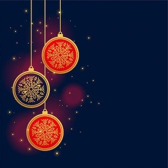 Hanging christmas decoration balls background