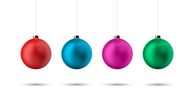 Hanging christmas decorations isolated on white with shadow. vector xmas balls
