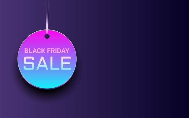 Hanging circle black friday sale tag in neon light color background