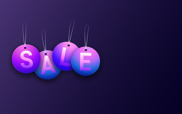 Hanging circle sale tag in neon light color background
