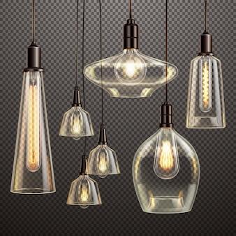 輝くフィラメントアンティークled電球を備えた透明なガラスランプをぶら下げ現実的な暗いグラデーション透明セット