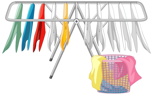 Hanging clothes with laundry basket on white background