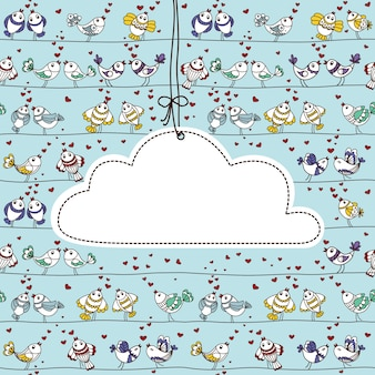 Hanging cloud label with birds in love and place for your text.
