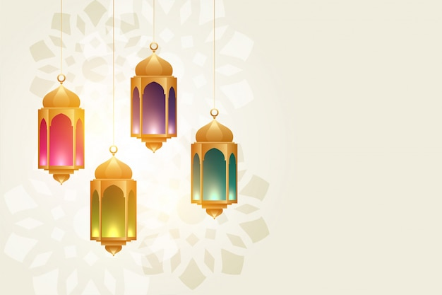 Hanging colorful eid festival lamps beautiful background Free Vector