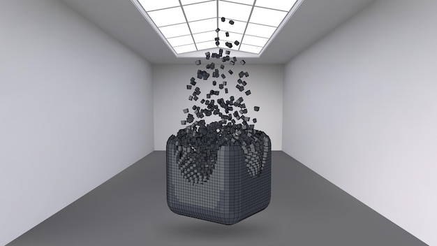 Hanging the cube from a multitude of small polygons in the large empty room. exhibition space with abstract cubic shapes. the cube at the moment of explosion is divided into fine particles.