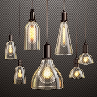 Hanging deco glass lamps with glowing filament antique led light bulbs realistic dark transparent set