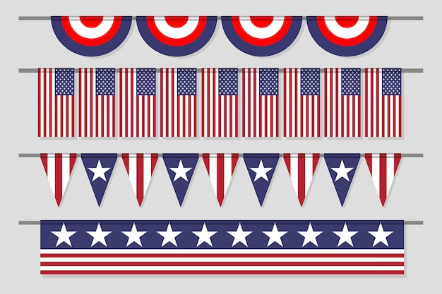 Hanging decorative usa flag set for independence day