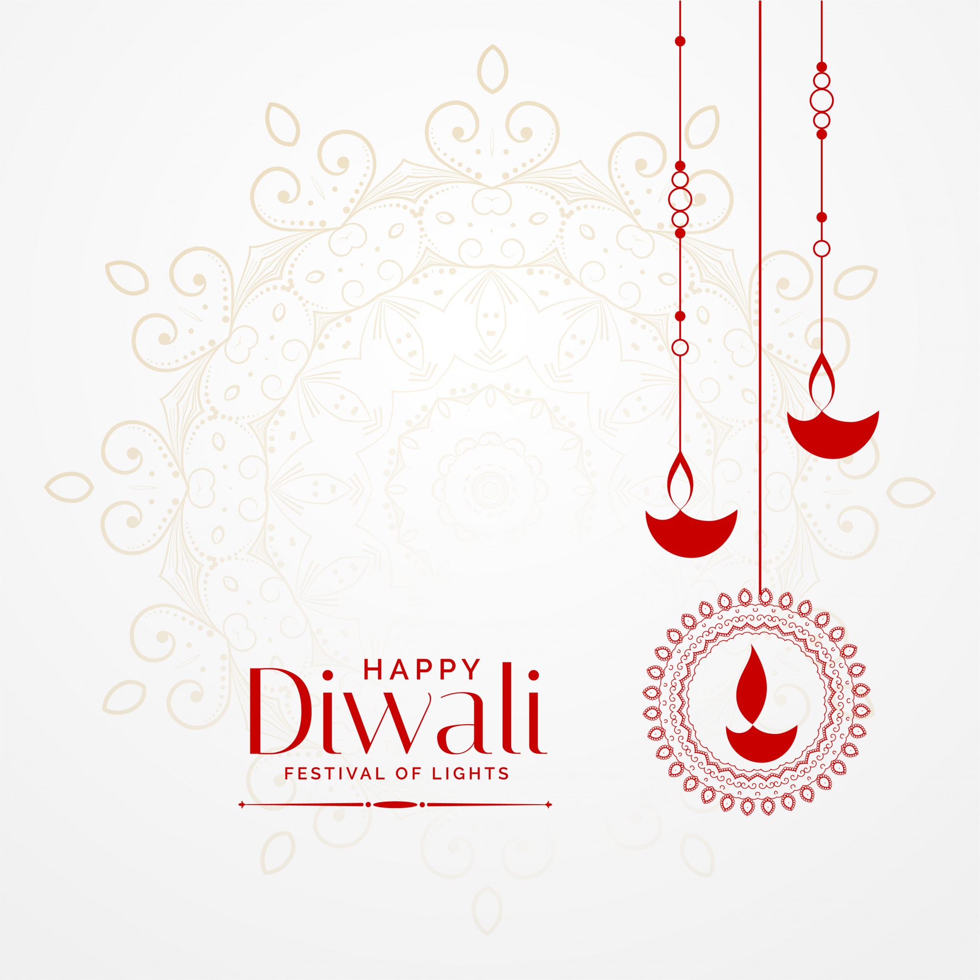 Hanging diwali diya lovely festival background