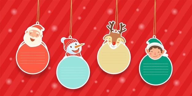 산타 클로스, 눈덩이, 순록 및 산타 도우미와 함께 매달려있는 요소.