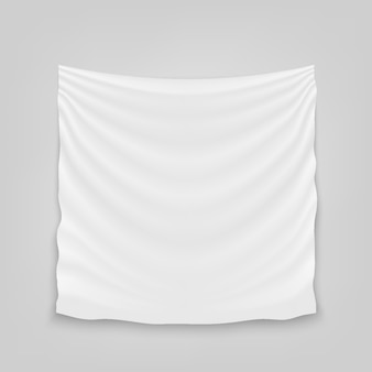 Hanging empty white cloth fabric textile banner.