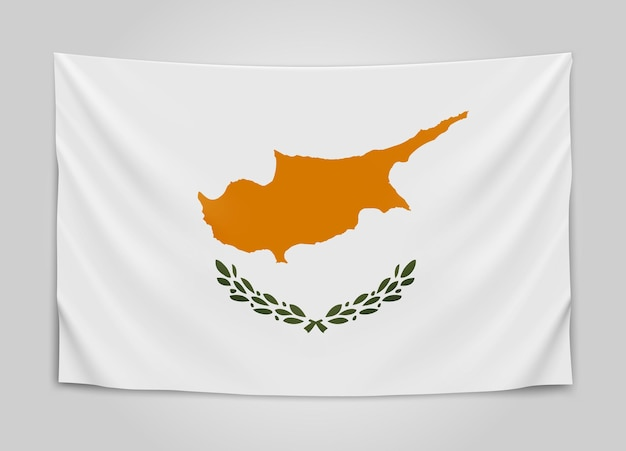 Hanging flag of cyprus. republic of cyprus. national flag