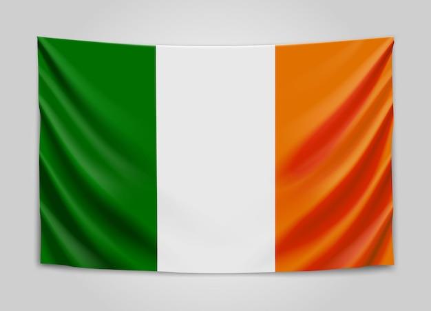 Hanging flag of ireland. ireland.