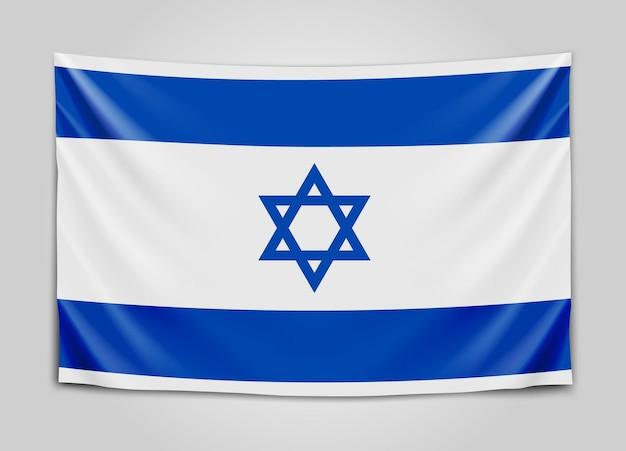 Hanging flag of israel. state of israel. israeli