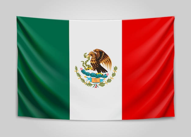 Hanging flag of mexico. united mexican states.